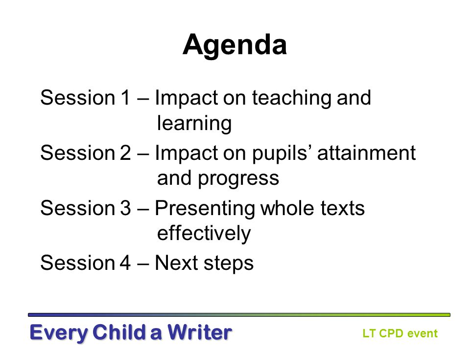 LT CPD event Every Child a Writer Pre-course task