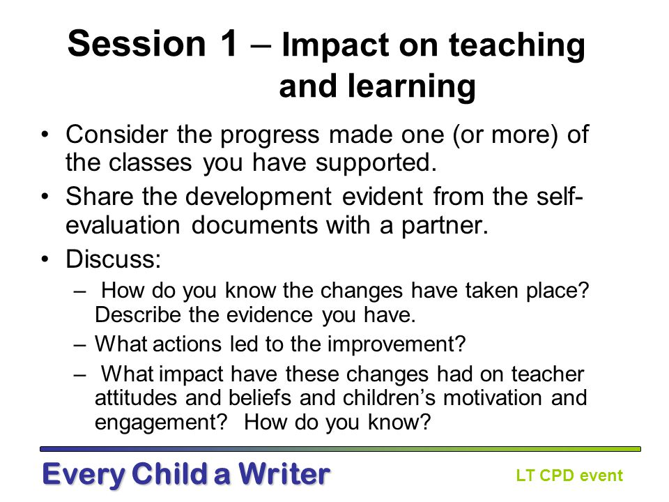 LT CPD event Every Child a Writer Who's that talking.