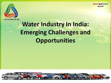 Water Industry In India: Emerging Challenges and Opportunities.