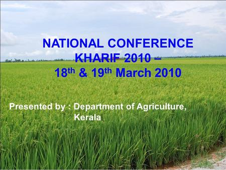 | TRACKER Unit of measure 1 Footnote SOURCE: Source Title Unit of measure NATIONAL CONFERENCE KHARIF 2010 – 18 th & 19 th March 2010 Presented by : Department.