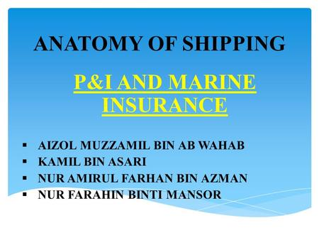 P&I AND MARINE INSURANCE