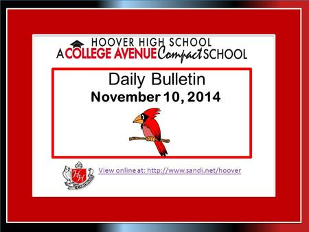 View online at:  Daily Bulletin November 10, 2014.
