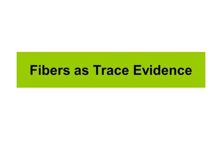 Fibers as Trace Evidence. Fibers Fibers are EVERYWHERE! As you interact with others or the environment, fibers become attached to your body and clothes,