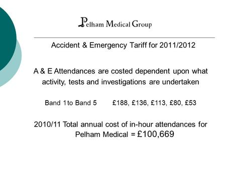 Accident & Emergency Tariff for 2011/2012 A & E Attendances are costed dependent upon what activity, tests and investigations are undertaken Band 1to Band.