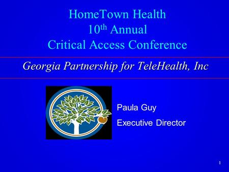 HomeTown Health 10 th Annual Critical Access Conference Paula Guy Executive Director Georgia Partnership for TeleHealth, Inc 1.