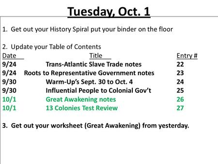 Tuesday, Oct. 1 1. Get out your History Spiral put your binder on the floor 2. Update your Table of Contents DateTitleEntry # 9/24Trans-Atlantic Slave.