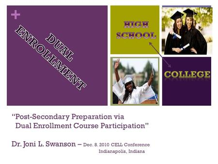 "+ ""Post-Secondary Preparation via Dual Enrollment Course Participation"" Dr. Joni L. Swanson – Dec. 8. 2010 CELL Conference Indianapolis, Indiana."