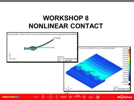 WS8-1 WORKSHOP 8 NONLINEAR CONTACT. WS8-2 WS8-3 ● Workshop Objectives ● Learn how to run a nonlinear (Solution 400) analysis ● Investigate the difference.