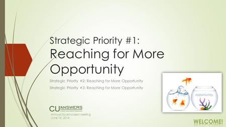 Strategic Priority #1: Reaching for More Opportunity Strategic Priority #2: Reaching for More Opportunity Strategic Priority #3: Reaching for More Opportunity.