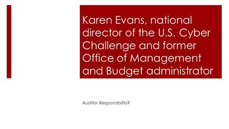 Karen Evans, national director of the U.S. Cyber Challenge and former Office of Management and Budget administrator Auditor Responsibility?