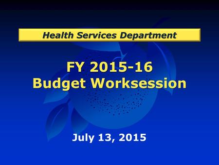 FY 2015-16 Budget Worksession Health Services Department July 13, 2015.
