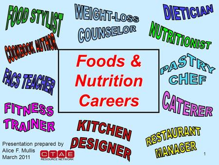 1 Foods & Nutrition Careers Presentation prepared by Alice F. Mullis March 2011.
