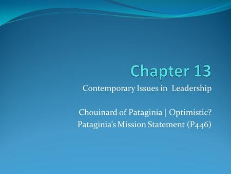 Contemporary Issues in Leadership Chouinard of Pataginia | Optimistic? Pataginia's Mission Statement (P446)