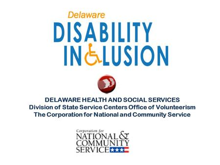 DELAWARE HEALTH AND SOCIAL SERVICES Division of State Service Centers Office of Volunteerism The Corporation for National and Community Service.