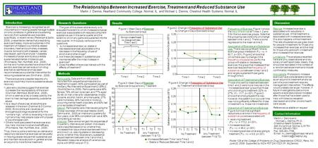 The Relationships Between Increased Exercise, Treatment and Reduced Substance Use Martin J. Dennis, Heartland Community College, Normal, IL and Michael.