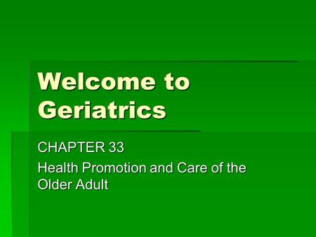 health promotion of the older adult essay Standard eight: the promotion of health and active life in older age  older  people are the main users of health and social care services but sometimes  services.