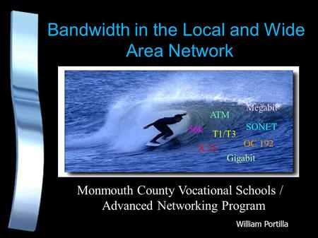 Bandwidth in the Local and Wide Area Network Monmouth County Vocational Schools / Advanced Networking Program X.25 ATM 56k SONET T1/T3 OC 192 Gigabit Megabit.