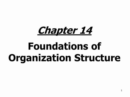 1 Chapter 14 Foundations of Organization Structure.