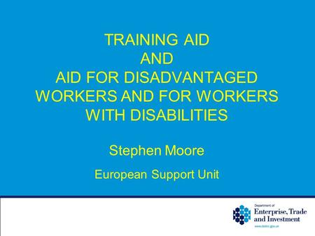 TRAINING AID AND AID FOR DISADVANTAGED WORKERS AND FOR WORKERS WITH DISABILITIES Stephen Moore European Support Unit.
