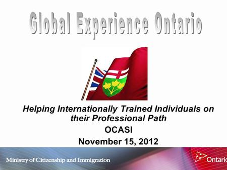 Helping Internationally Trained Individuals on their Professional Path OCASI November 15, 2012.