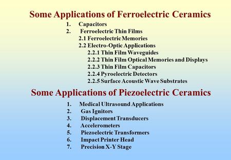 Some Applications of Ferroelectric Ceramics 1.Capacitors 2. Ferroelectric Thin Films 2.1 Ferroelectric Memories 2.2 Electro-Optic Applications 2.2.1 Thin.