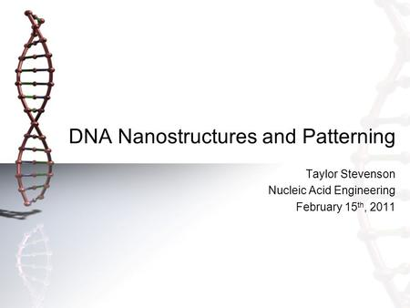 DNA Nanostructures and Patterning Taylor Stevenson Nucleic Acid Engineering February 15 th, 2011.