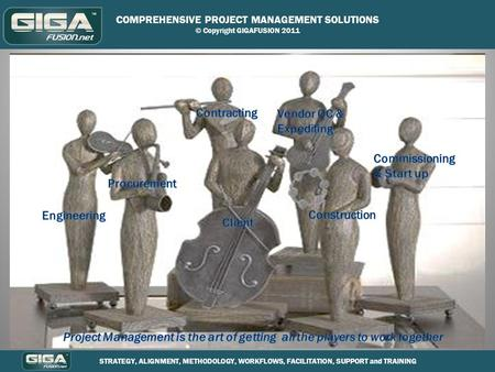 COMPREHENSIVE PROJECT MANAGEMENT SOLUTIONS © Copyright GIGAFUSION 2011 STRATEGY, ALIGNMENT, METHODOLOGY, WORKFLOWS, FACILITATION, SUPPORT and TRAINING.