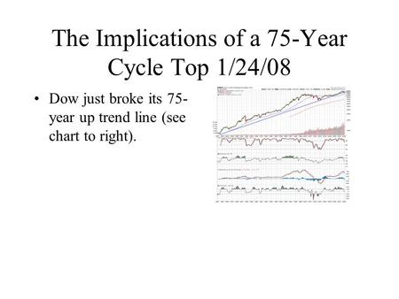 The Implications of a 75-Year Cycle Top 1/24/08 Dow just broke its 75- year up trend line (see chart to right).