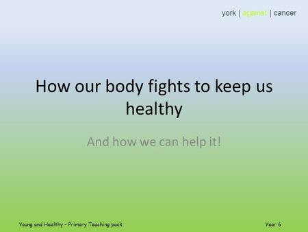 How our body fights to keep us healthy And how we can help it! york | against | cancer Young and Healthy – Primary Teaching pack Year 6.