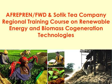 1 AFREPREN/FWD & Sotik Tea Company Regional Training Course on Renewable Energy and Biomass Cogeneration Technologies.