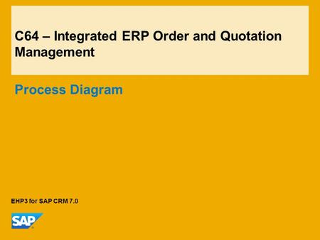 C64 – Integrated ERP Order and Quotation Management Process Diagram EHP3 for SAP CRM 7.0.