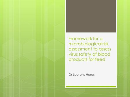 Framework for a microbiological risk assessment to assess virus safety of blood products for feed Dr Lourens Heres.