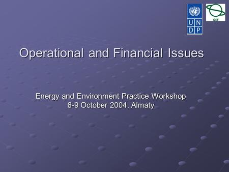 Operational and Financial Issues Energy and Environment Practice Workshop 6-9 October 2004, Almaty.