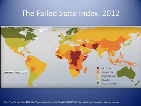 The Failed State Index, 2012 Taken From: Foreign Policy. 2011.