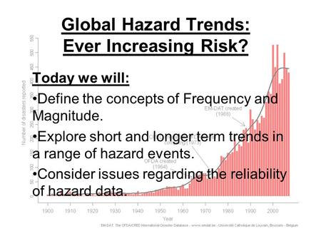 Global Hazard Trends: Ever Increasing Risk? Today we will: Define the concepts of Frequency and Magnitude. Explore short and longer term trends in a range.