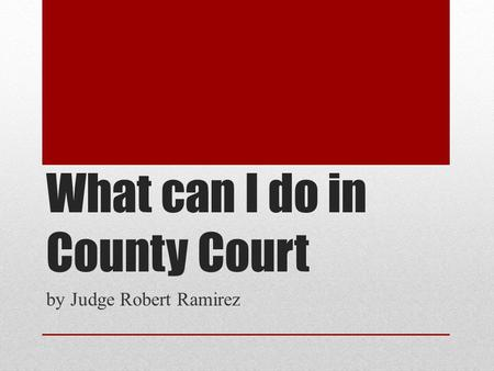 What can I do in County Court by Judge Robert Ramirez.