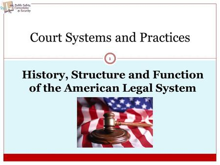 History, Structure and Function of the American Legal System 1 Court Systems and Practices.