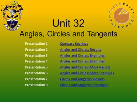 Unit 32 Angles, Circles and Tangents Presentation 1Compass Bearings Presentation 2Angles and Circles: Results Presentation 3Angles and Circles: Examples.