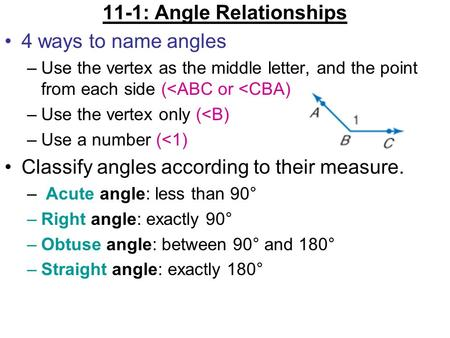 11-1: Angle Relationships 4 ways to name angles –Use the vertex as the middle letter, and the point from each side (<ABC or <CBA) –Use the vertex only.