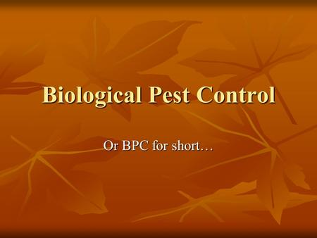 Biological Pest Control Or BPC for short…. Biological Pest Control--BPC What is it? Biological Pest Control is a way of controlling pests and diseases.