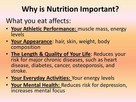 Why is Nutrition Important? What you eat affects: Your Athletic Performance: muscle mass, energy levels Your Appearance: hair, skin, weight, body composition.