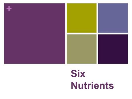 + Six Nutrients. + Words to Know! NUTRITION - is the science that studies how body makes use of food. DIET - is everything you eat and drink. NUTRIENTS.