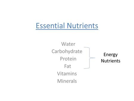 Essential Nutrients Water Carbohydrate Protein Fat Vitamins Minerals Energy Nutrients.