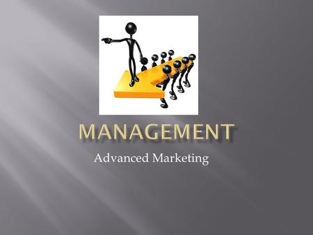 Advanced Marketing.  Getting work done through the effort of others  Process of reaching goals through use of human resources, technology, and material.
