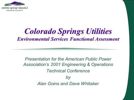 Colorado Springs Utilities Environmental Services Functional Assessment Presentation for the American Public Power Association's 2001 Engineering & Operations.