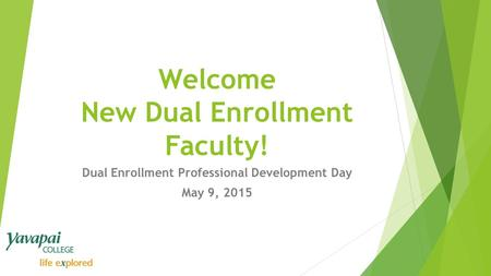 Welcome New Dual Enrollment Faculty! Dual Enrollment Professional Development Day May 9, 2015.
