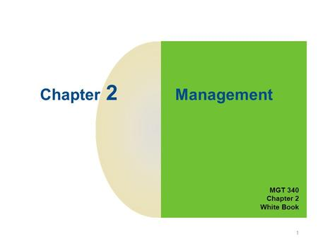 1 Chapter 2 Management MGT 340 Chapter 2 White Book.