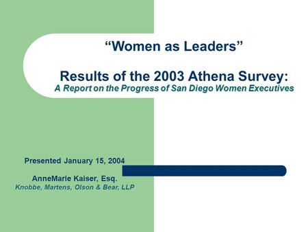 "A Report on the Progress of San Diego Women Executives ""Women as Leaders"" Results of the 2003 Athena Survey: A Report on the Progress of San Diego Women."