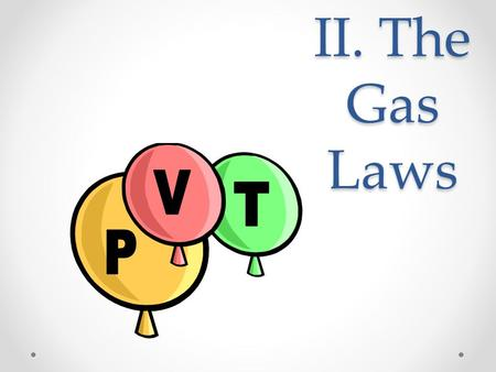 II. The Gas Laws. A. Boyle's Law P V PV = k A. Boyle's Law The pressure and volume of a gas are inversely related o at constant mass & temp P V PV =