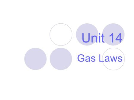 Unit 14 Gas Laws. Properties of Gases Gas properties can be modeled using math. Model depends on— 1.V = volume of the gas (L) 2.T = temperature (Kelvin,